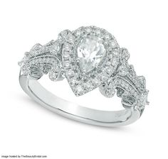 Vera Wang LOVE 0.5 ct Pear-Shaped Halo Diamond Engagement Ring