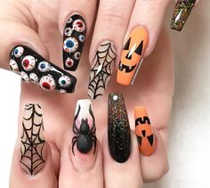 Cool Halloween Nail Art Designs for Creepy halloween nails; cute hallo… Cool Halloween Nail Art Designs for Creepy halloween nails; Holloween Nails, Halloween Acrylic Nails, Cute Halloween Nails, Halloween Nail Designs, Creepy Halloween, Halloween Coffin, Costume Halloween, Halloween Recipe, Halloween Party