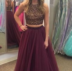 AHP056  A-line Two Piece Prom Dress Beaded Bodice Plum Tulle Skirt