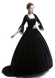 Black Velvet Ball Gown Victorian Gown - D-RoseBlooming Source by gowns victorian Masquerade Ball Dresses, Ball Gowns Prom, Tulle Prom Dress, Ball Gown Dresses, Pageant Dresses, Quinceanera Dresses, 15 Dresses, Victorian Gown, Victorian Costume