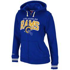 Los Angeles Rams Women's Mitchell & Ness Full-Zip Hooded Fleece