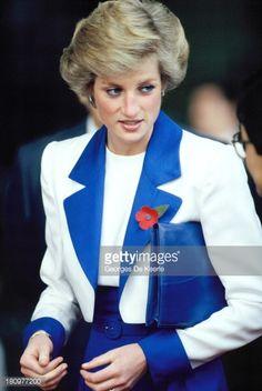 NOVEMBER 09 1989 Princess Diana wearing a Catherine Walker suit on a visit to Tuen Mun, Hong Kong