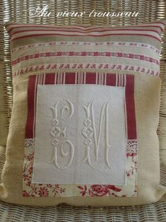 repurpose vintage monogramed napkins for a pillow