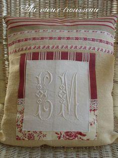 repurpose vintage monogramed napkins for a pillow