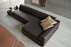 Sofá moderno / de interior / de cuero / con mesa integrada MONITOR Dall'Agnese Industria Mobili