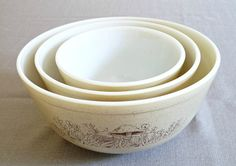Pyrex Set of Three Mixing Bowls, Forest Fancies, Mushroom. $29.00, via Etsy...my favorite mixing bowls!!
