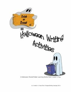Halloween Writing Activities FREE Pocket Folder Learning Center