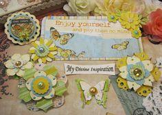 Adornos de papel hecho a mano de Bo Bunny Country Garden y flores de papel para Scrapbook diseños tarjetas Mini álbumes etiquetas y papel
