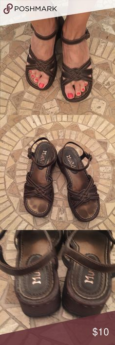 """Beautiful brown Mudd sandals Previously loved but in really good condition, brown sandals by Mudd. All man made materials. Style is called Alzena. Gorgeous braided front. Cushy foot bed. Bottom is thick and gives you lots of support. Heel is 2"""". Buckles around ankle and is adjustable. Mudd Shoes Sandals"""