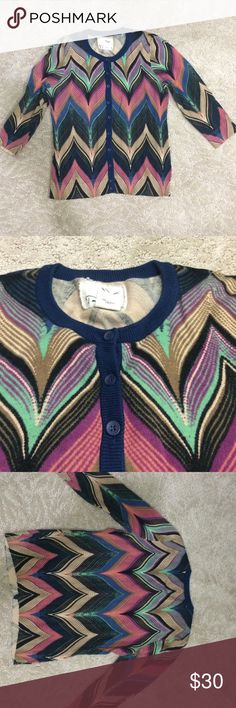 Anthropologie Zig-Zag Cardi Cute cardigan from Anthropolgie brand Tabotha! 3/4 length sleeves and buttons down the front. Great colourful zig-zag pattern! Lightly worn Anthropologie Sweaters Cardigans