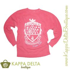 Comfort Colors Watermelon Kappa Delta Crest sweatshirt! Just in time for the cold hotel rooms at KD Convention!