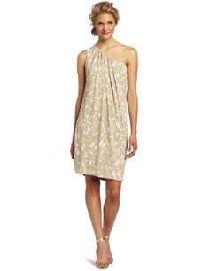 Anne Klein Women's Lion Print One Shoulder Dress, Beige, Large