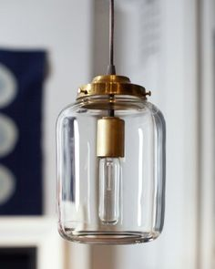 hand-blown glass pendant light.