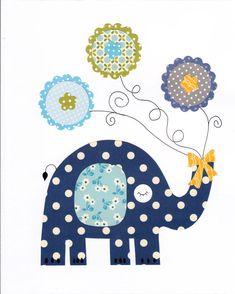 Elephant Colorful Animal Nursery Artwork by Elephant Quilt, Elephant Nursery, Animal Nursery, Baby Boy Nursery Decor, Baby Room Decor, Turtle Nursery, Felt Animal Patterns, Baby Shower Presents, Baby Clip Art