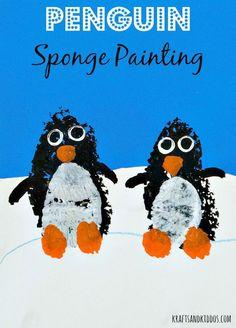 Penguin Sponge Painting