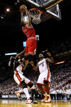Chicago Bulls v Miami Heat - Game Four, Miami, FL - MAY 24: Derrick Rose, LeBron James and Udonis H