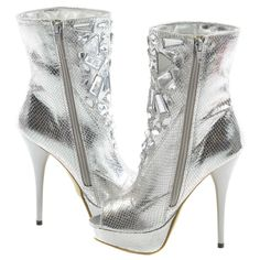 Silver Faux Leather Gemstone Pattern Booties | Sexyback Boutique