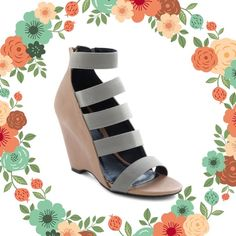 Quipid Railroad Wedges Stretchy gray straps and a light taupe wedge. Some wear from use, please see pictures.      Fit like 7.5/8 Shoes