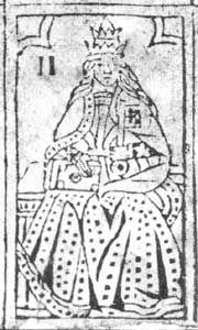 Lámina de Rosenwald (lámina sin cortes de cartas); finales del siglo 15 o principios del siglo 16. Galería Nacional de Arte, Washington DC, EE.UU. By Unknown - Secondary source: http://www.trionfi.com/0/i/r/02.html, Public Domain, https://commons.wikimedia.org/w/index.php?curid=310729