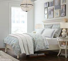 Jessie Organic Duvet Cover & Sham #potterybarn  Love the photo frame arrangement over the bed.