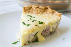Eggs Benedict Quiche! This super easy to make quiche comes out with perfectly flakey crust, creamy egg and bites of canadian bacon. Not to mention it's smothered in an easy to make blender hollandaise sauce. Perfect for brunch and upcoming Mother's Day!PIN IT NOW TO SAVE!