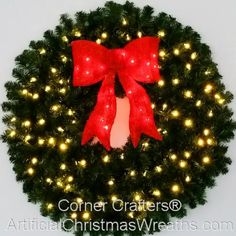 3 foot 36 inch led christmas wreath with pre lit red bow - Pre Lit Outdoor Christmas Wreaths