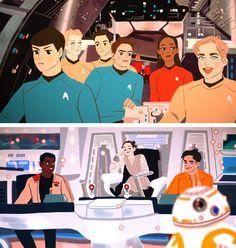 Abrams' Trek with Star Wars? Star Trek Enterprise, Star Trek Voyager, Star Trek Tos, Stark Trek, Watch Star Trek, Fanart, Fandom Crossover, Love Stars, Star Wars Art