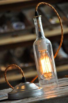 Custom Order for Laura -- Recycled Bottle, Wine Bottle Pendant, Hanging Bottle Pendant, Hanging Lamp, Bottle Lamp with Edison Lightbulb. $267.00, via Etsy.