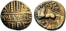 Catuvellauni & Trinovantes. Cunobelin, c. 8-41. Stater (Gold, 16mm, 5.38 g 10), first issue, Camulodunon (Colchester). CAMVL on a central panel over vertical wreath with alternate heart shapes and bucrania in the angles. Rev. [CVNOBELIN] Two horses galloping to left (the deconstructed remains of a biga) with a leaf above and a 'wheel' below. ABC 2771. BMC 1769-71. VA 1910. Beautifully toned and unusually nice. Reverse struck slightly off center, otherwise, extremely fine.