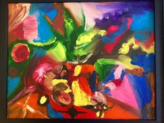This is a 16x20 sized abstract modern oil painting, done with red green blue yellow pink and purples, and rests in a black wood frame. This work