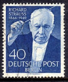 Richard Strauss (1864-1949). Stamp printed in Berlin, 1954