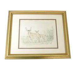 "TOM RESS Signed DEER Artwork Art Nature Picture 1976 16"" x 13"" #Realism"