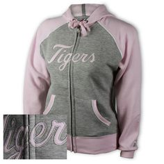 """Detroit Tigers Ladies Fan Fun Full-Zip Hooded Fleece SKU: 12691032311 Detroit Tigers ladies """"Fan Fun"""" full-zip hooded fleece.  Long sleeve raglan with gray body and pink contrasting trim and sleeves.  Hood and ribbed trim.  Piping at arm holes and pouch pocket.  Self fabric applique.  Classic fit.  80% cotton/20% polyester fleece.  http://www.detroitathletic.com/servlet/the-1992/Detroit-Tigers-Ladies-Fan/Detail"""