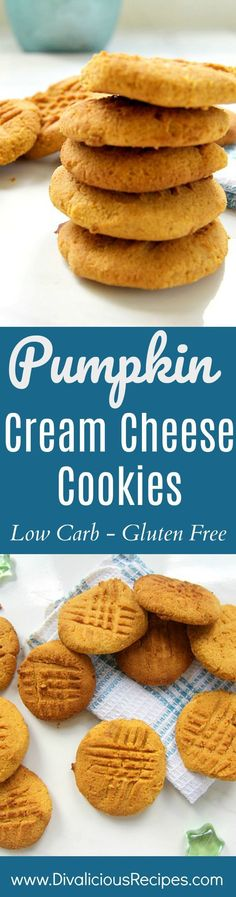 Pumpkin cream cheese cookies are a delicious low carb and gluten free soft cookie. Pumpkin cream cheese cookies are another version of my cream cheese cookie recipe. Baked with coconut flour, these cookies are soft and delicious. #lowcarbrecipe #lowcarbcookies #lowcarbpumpkincookies
