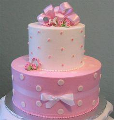 Torta de baby shower para niña de punticos. #DecoracionBabyShower