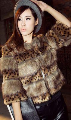 Leopard Sexy Slim fur coats