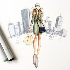 All work on this page ©Holly Nichols. Please credit if sharing 💗Boston-based professional fashion. Illustration Mode, Fashion Illustration Sketches, Fashion Sketches, Fashion Drawings, Fashion Sketchbook, Fashion Art, Love Fashion, Fashion Design, Girl Fashion