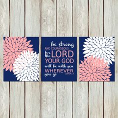 Joshua Bible Verse Quote Peony Flowers Navy Blue by indulgemyheart