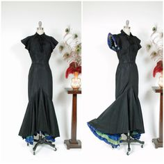Vintage 1930s Dress - Rare Curve Hugging Late 1930s Peggy Hunt Jean Carol Label Evening Gown with Two Tone Peekaboo Pleated Ruffled Accents
