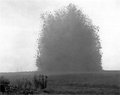 """""""The opening of the great Battle of the Somme, july 1st, 1916. at 7.20 a. m. This huge mine loaded with 20 tons of aminol which took 7 months to make, was sprung under the german trenches at Beaumont Hamel"""" The Hawthorn Ridge mine- How I Filmed the War, by Lieut. Geoffrey H. Malins"""