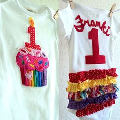 First Birthday Cupcake Outfit baby Girls RAINBOW by ThePeachyOwl
