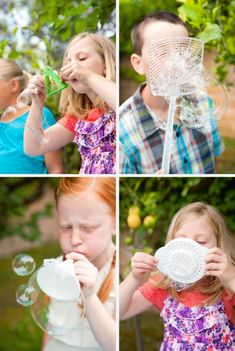 Bubble Fun!  Will have to try this with the boys when it gets warm!  Cole and Braden love bubbles.