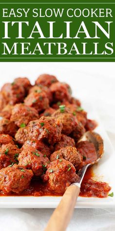 This easy slow cooker meatball recipe uses a blend of beef and Italian turkey sausage for a lightened-up version that still makes a flavorful, juicy meatball. Perfect for a weeknight dinner served over pasta or with toothpicks at tailgating party! Slow Cooker Recipes, Crockpot Recipes, Cooking Recipes, Slow Cooking, Pork Recipes, Tomato Sauce Recipe, Sauce Recipes, Party Meatballs, Sauce Tomate