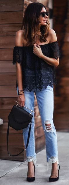 Erica Hoida + gorgeous combination + lace off the shoulder number + stylish distressed straight leg jeans + glamorous and casual + perfect for almost any evening engagement + Erica's style! Top: Cupcakes and Cashmere, Jeans: Lovers & Friends, Shoes: Gianvito Rossi, Bag: M2Malletier.