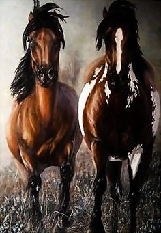 """Original oil painting by Carolyn Mock - titled """"No Fences"""",  Oil on canvas 55'' x 43'', signed by artist."""