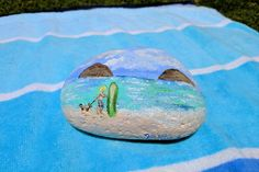 Original Hand painted rock Boy walking dog on Lanikai Beach Hawaii by VictoriartTreasures on Etsy