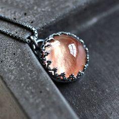 Oregon Sunstone Necklace, Vanilla Cream Peach Pink Copper Gemstone Necklace Tiara Bezel Oxidized Sterling Silver - Ready to Ship - Princess