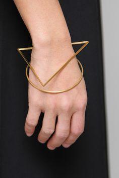 Geometric Jewellery - gold circle & triangle bangle; chic minimalism