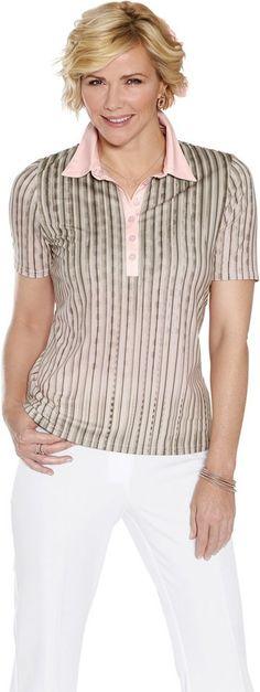 Classic Poloshirt mit unifarbenem Kragen und Knopfleiste ab 34,99€. Bedrucktes Poloshirt mit längerer Knopfleiste, Polyester, Elasthan bei OTTO