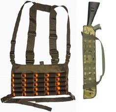 """Hunting- Ultimate Arms Gear Tactical Shotgun Package: OD Olive Drab Green Chest Rig 25 Round 12    20 GA Gauge Elastic Universal Shotgun Shot Shell Cartridge Ammo Ammunition Holder Carrier Hunting Harness Vest with Hidden Internal Document Map Utility Pocket   29"""" Woodland Camo Camouflage Molle Scabbard -- Find out more about the great product at the image link."""